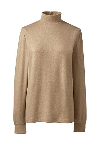 (Lands' End Women's Plus Size Relaxed Cotton Mock Turtleneck)