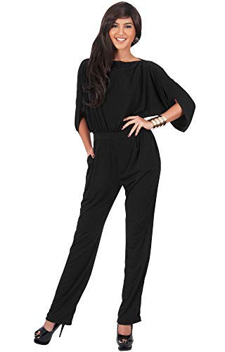 KOH KOH Womens Short Sleeve Sexy Formal Cocktail Casual Cute Long Pants One Piece Fall Pockets Dressy Jumpsuit Romper Long Leg Pant Suit Suits Outfit Playsuit, Black L 12-14