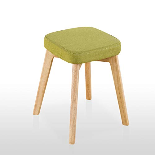 Solid Wood Stool,Fabric Dining Chair Home Stool Modern Dressing Stool Makeup Chair Fashion Creative Footstool-Green 37x37x46cm(15x15x18in)