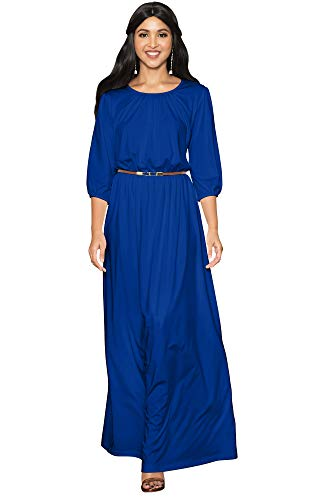 KOH KOH Petite Women Long 3/4 Sleeve Sleeves Vintage Autumn Fall Winter Flowy Formal Evening Work Office Modest Peasant Cute Abaya Gown Gowns Maxi Dress Dresses, Cobalt/Royal Blue S 4-6 (1)