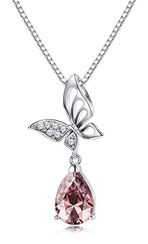 Sllaiss Butterfly Pendant Necklace for Women Cute Animal Necklace Teardrop Pink Crystal from Swarovski Girls Dating Gift