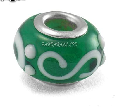 Calvas Glaze Lampwork European Beads, Large Hole Beads, with Silver Color Brass Core, Rondelle, Green, Diameter: 12mm~14mm