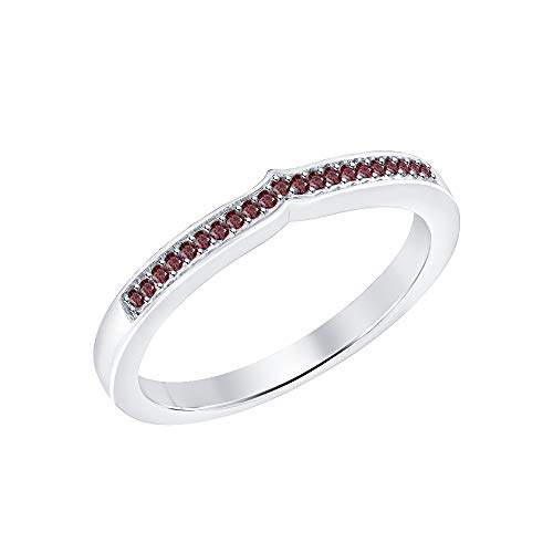 RUDRAFASHION White Gold Over 925 Sterling Silver Round Red Garnet Curved Half Eternity Wedding Band Ring - Garnet White Gold Wedding Bands