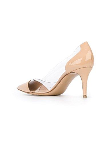 Cour Pvc Bout Femmes heel Pompes Edefs Transparent Soirée Bride escarpins Pointu Kitten Chaussures Beige Mariage wITq01Ux