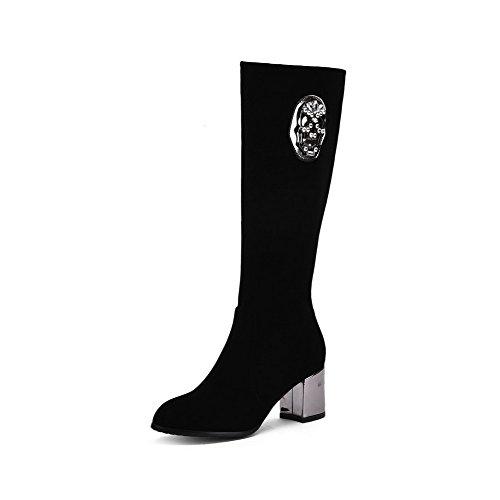 Allhqfashion Women's Kitten-Heels Solid Round Closed Toe Frosted Zipper Boots Black 7D0Rey