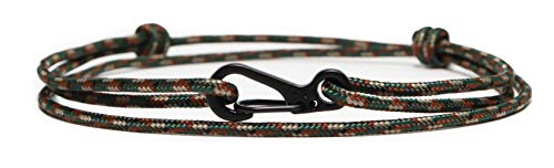 WUE Mens Bracelet Handmade with Paracord Rope and Steel Carabiner Adjutable Knots - Made in USA (Woodland Camo)