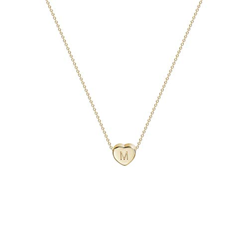 Tiny Gold Initial Heart Necklace-14K Gold Filled Handmade Dainty Personalized Letter Heart Choker Necklace Gift for Women Kids Child Necklace Jewelry Letter M ()