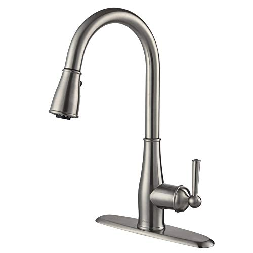 Kitchen Faucet Brushed Nickel - AOSGYA Single-Handle Kitchen Sink Faucets with Pull Down Sprayer 3 Functions Sprayer 1 or 3 Holes, cUPC Certified Lead-Free