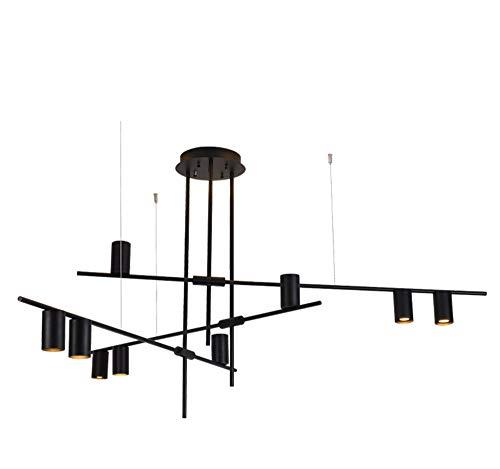 BOKT Contemporary Minimalist 9-Light Kitchen Island Pendant, Matte Black Lampshade Finish Flush Mount Lamp, Geometric Modern Linear Chandelier Lighting Fixture with Led Bulbs