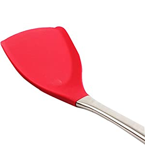 Snail Easy Flex Silicone Best Rubber Cooking Spatula Set with stainless steel handle Flexible Turner-Non-stick pan (Red)