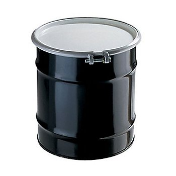 New Pig DRM335 Open-Head UN Rated Unlined Steel Drum, 20 Gallon Capacity, 19'' Diameter x 21-3/4'' Height, Black/White