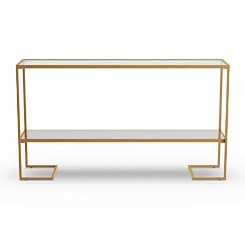 Gold Console Table, The Sleek Iron Frame Features a Gold Finish and a Tempered-Glass Table Top that Allows you to See Down to the Trendy Mirrored Shelf, Angled Sled Legs add a Hint of Geometric Design ()