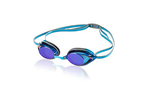 Speedo Vanquisher 2.0 Mirrored Swim Goggles, Horizon Blue, One - Prescription Goggles Mirrored Swim