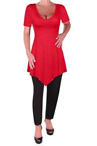 En Aux Tops Rouge Col T Shirt Keira V Eyecatch Tunique Femmes Dames Evas Chemisier Ourlet 5Xq4wnA