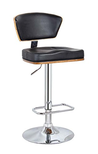 Neos Modern Furniture Creative Images International Minimalist Collection Height Adjustable Walnut Wood Swivel Bar Stool with PU Cushioned Backrest and Seat and a Stainless Steel Base, Black ()