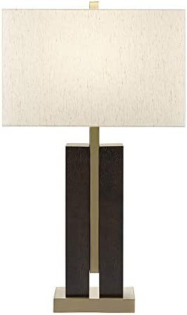 "Catalina Lighting 21738-001 Contemporary Double Column Table Lamp, LED Bulb Included, 32"", Faux Wood/Antique Brass"