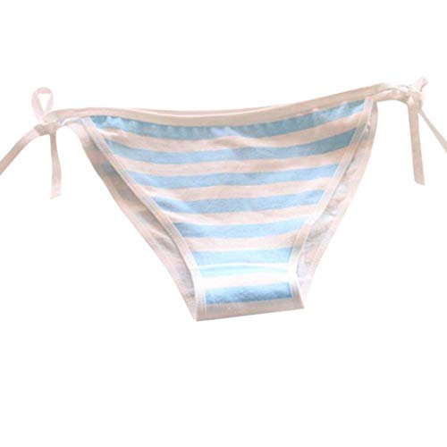 Satin Striped Panties - Kintaz Women Striped Briefs Panty Bandages Underwear Underpants with Side Bowknot (Blue)