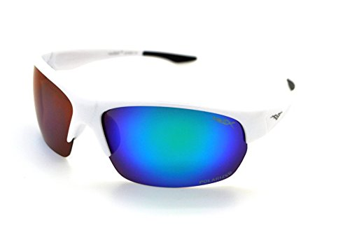 VertX Polarized Lightweight Durable Mens & Womens Athletic Sport Wrap Sunglasses Cycling Running w/FREE Microfiber Pouch - White Frame - Blue/Green - Free Sunglasses Scratch