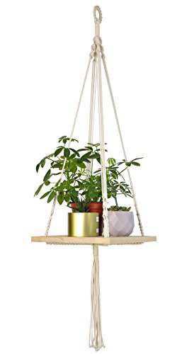 Macrame Plant Hanger - Indoor Planter Haning Shelf - BOHO Chic Bohemian Home Wall Hanging Decor - Decorative Flower Pot Holder, for Succulents, Cacti, Herbs, Small Plants by TIMEYARD