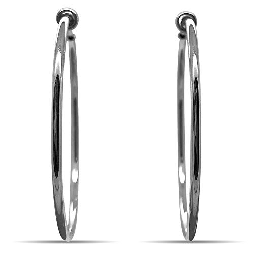 Silver Spring Hoops Earrings Clip On-Small, Medium & Large Silver Clip Hoop Earrings for Women (Bright Silver XL) ()