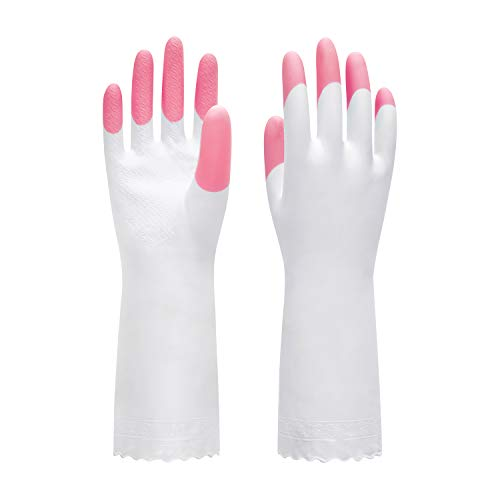 Pacific PPE Cleaning Glove Reusable Household Dishwashing Gloves-Latex Free Waterproof PVC Gloves for Kitchen,Gardening Gloves Unlined(Pink,M)
