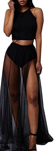 Women Round Neck Sleeveless Crop Top Mesh Splice See Through Maxi Skirt 2 Piece Set Outfits