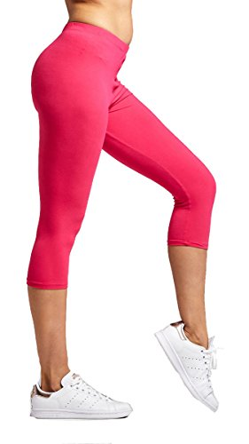 Premium Ultra Soft Womens High Waisted Capri Leggings - Cropped Length - Solid - Fuchsia Pink - Plus Size (12-24)