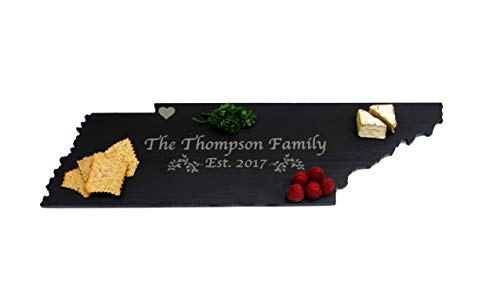 Tennessee Laser - Custom Tennessee Slate Cutting Board, Serving Tray, or Cheese Board- Personalized with Laser Engraving