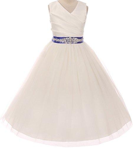 Little Girls Custom Rhinestone Belt Communion Flowers Girls Dresses Ivory Royal 6 (MB27K6CB)