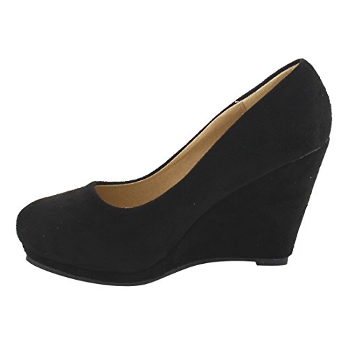 Anna Id61 Mujeres Classic Slide In Wedge Pump Black