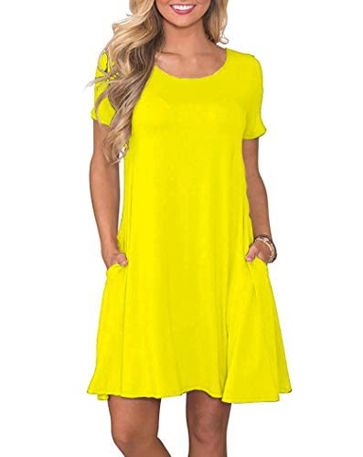 Easy Dress Tunic - WNEEDU Women's Summer Casual T Shirt Dresses Short Sleeve Swing Dress with Pockets (S, Yellow)