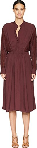 (Vince Women's Mixed Media Dress, Black Cherry, Small )