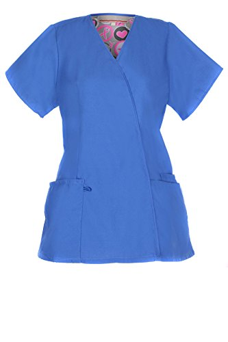 G Med Women's 2 Pockets V Neck Basic/ Fashion Scrub Top(TOP-MED,RYB-M)