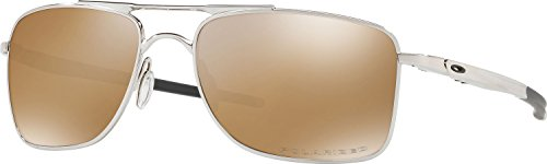 Oakley Men's Gauge 8 Polarized Iridium Rectangular Sunglasses, Polished Chrome, 57 - Oakley 8