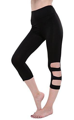 EOZY Femme Leggings De Sport 3/4 Fantaisie Collant Pantalon Running Yoga Noir