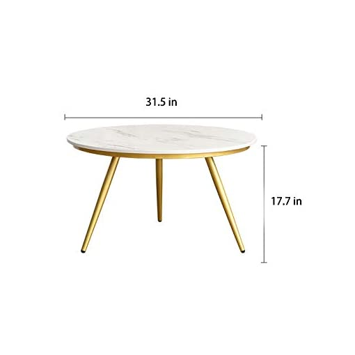 Living Room EKR Real Marble Coffee Table Gold Modern Accent Table Round Nesting Table Contemporary Desk Living Room Home Decor (Ø 27… modern coffee tables