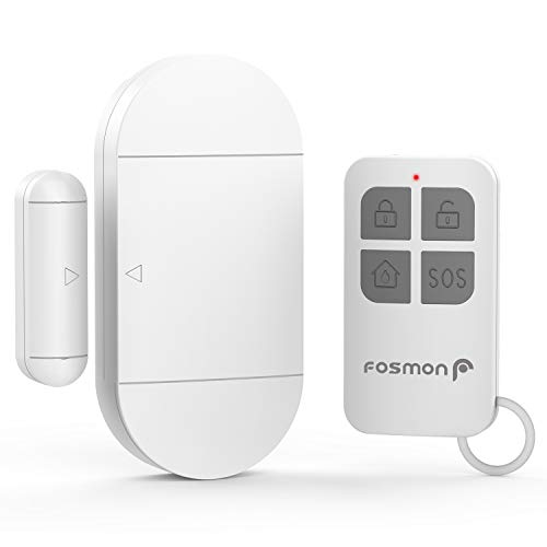 (Fosmon Anti Theft Burglar Alarm with Remote, Wireless Window and Door Open Entry Alert Magnetic Contact Sensor Battery Operated Loud 130dB Siren for Home Security, Business, Kids Safety, Pool)