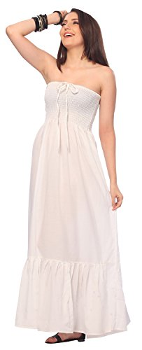 La Leela Rayon Solid Plain Womens Beach wear Cover up Maxi tube Halter Dresses top caribbean long Office White Basics