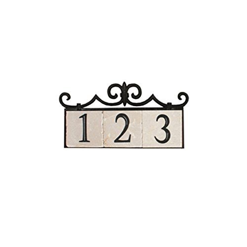 (NACH KA House Address Sign/Plaque - Colonial, 3 Numbers, Iron, 14 x 8 x 1
