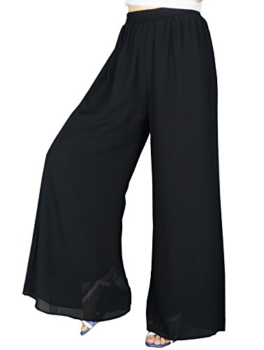 YSJERA Women's Chiffon Wide Leg Palazzo Pants Maxi Full Length Solid Gaucho Pants Culottes Trousers 4L,Black