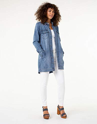 Liverpool Women's Jeans Company Long Smock Shirt Jacket in Soft Rigid Denim M Sutter Wash