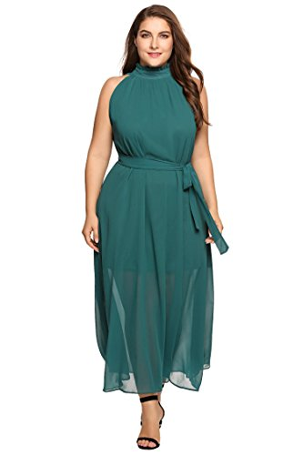 Zeagoo Womens Plus Size Chiffon Sleeveless Maxi Formal Dresses Solid Belted Party Dress Green 22 Plus