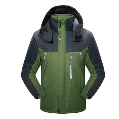 Winter Outdoor Bergsteigen Kleidung Samt Dicke wasserdichte und verschleißfeste Männer Baumwollmantel Reiten Ski,Grün,XL