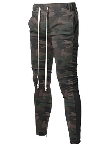 (Style by William Casual Side Panel Long Length Drawstring Ankle Zipper Track Pants Camo Black M)