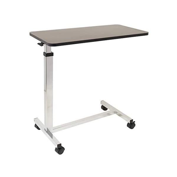 Non-Tilt Overbed Table with Wheels – 15 x 30 inches Height Adjustable Hydraulic – Locking Caster Wheels – Laptop Table for Bed, Bed Trays for Eating, Built to Hospital Bed Table Standards