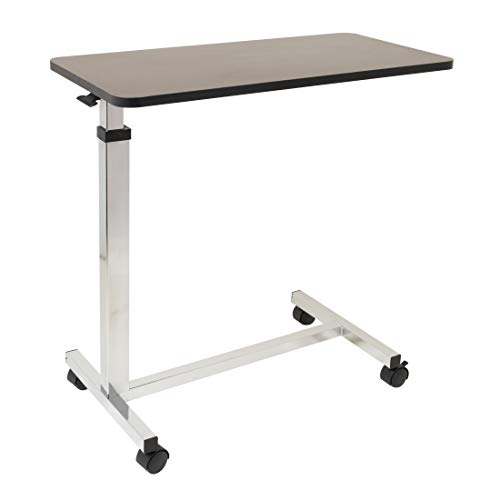 Non-Tilt Overbed Table with Wheels - 15 x 30 inches Height Adjustable Hydraulic - Locking Caster Wheels - Laptop Table for Bed, Bed Trays for Eating, Built to Hospital Bed Table Standards
