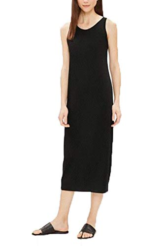 Eileen Fisher Scoop Neck Full-Length Dress in Viscose Jersey (L) Black