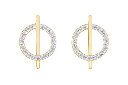Aria Jewels Diamond Circle Bar Line Stud Earrings in 14K Yellow Gold Over Sterling Silver (1/10 cttw)