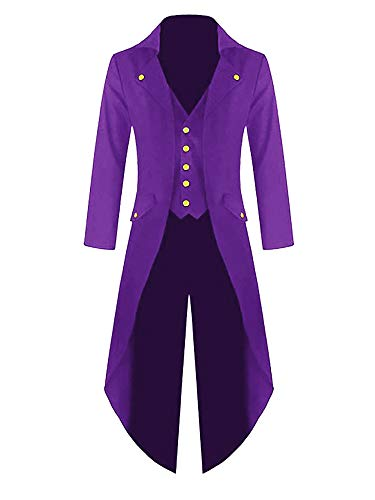 (Farktop Men's Steampunk Vintage Tailcoat Jacket Gothic Victorian Coat Tuxedo Uniform Halloween Costume Purple)