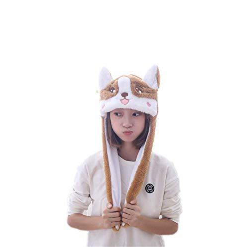 コーギー形帽子 耳が動く キャップ 手軽に変身 仮装 着ぐるみ コスプレ小道具 ハロウィン 可愛い動物帽子 アニマル帽子 ぬいぐるみ 被り物 面白い 撮影道具